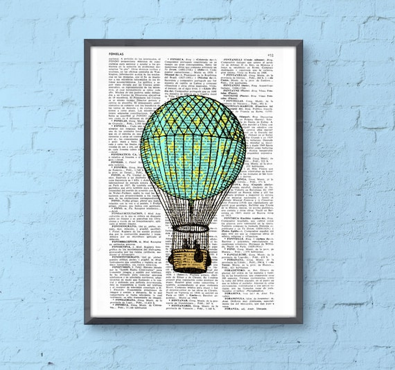Print Hot air balloon in turquise and yellow, Room decor, Gift, Balloon wall hanging, Cute home nursery wall decor, Home decor,  TVH127