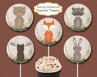 Woodland Cupcake Toppers, Woodland Baby Shower or Woodland Birthday Party, Forest animal cupcake toppers, Printable INSTANT DOWNLOAD   016