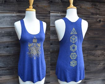 Seed of Life Crystal and Platonic Solids Racerback Tank Top - Sacred Geometry Clothing - Yoga Tank Top - Festival Clothing - Yoga Wear