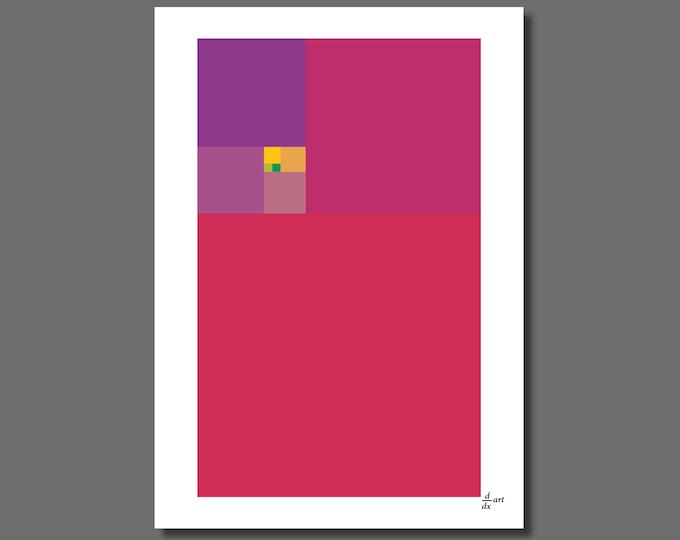 Fibonacci Colour Purple [mathematical abstract art print, unframed] A4/A3 sizes