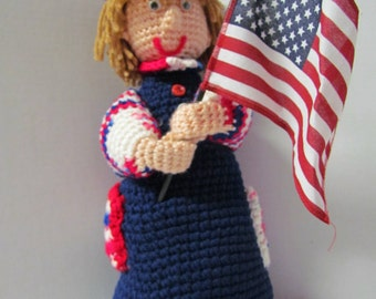 Crochet Amigurumi 4th Of July Doll~Patriotic Doll~Holiday~4th of July Crochet Doll~Holiday Decoration~4th July Decoration~Party Decor~