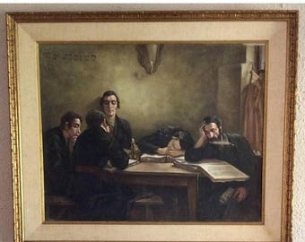 Sale Vintage Oil Painting Rabbi's Teaching Studying Jewish Judaica Fine Art Signed O/C