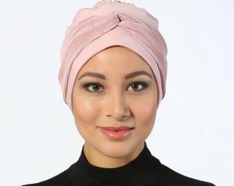 Turban Headwrap,Pink Turban, Fashion Turban Cap,Knotted Pleated Turban -Turban Headband /Bohemian Blush Turban Hat