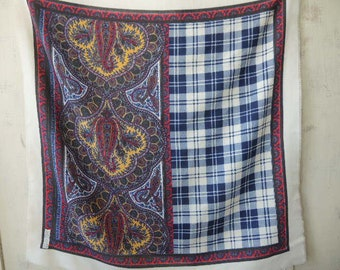 Vintage 1980s scarf acrylic like polyester plaid and paisley made in Italy 31 x 31 inches