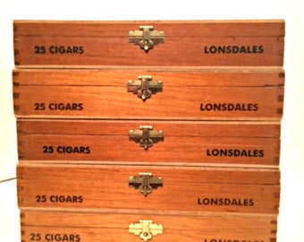 Five Wooden Cigar Boxes Thompson & Co. Vintage Lonsdale Hand Made in Dominican Republic