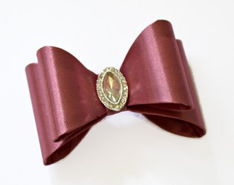 """Rose Pink Satin Bow. 3"""" Pink Satin Bow. Double Layer Bow. Rhinestone Center. ~Tamar Collection"""
