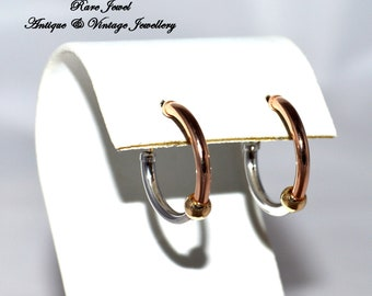 9ct Gold Earrings Lovely Tri Coloured Full Hoops Hallmarked Great Quality