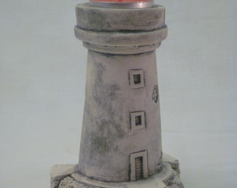 Little ceramic lighthouse - candle holder