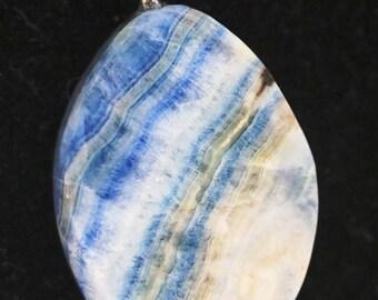 Pendant, Rare, from Turkey, Lapis Lace Onyx, blue white tan, silver bail 60ct