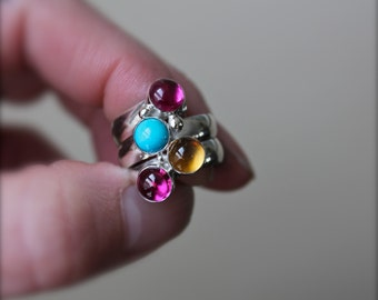 Birthstone Ring. Fairy Tale Ring. Sterling Silver. Mothers gift. Mother's Ring. Family ring. Bright. Grandma. Sisters. Friends. Custom