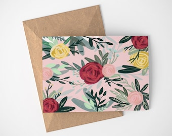 Pink Floral Card, Garden Card, Pretty Note Cards, Thank You Cards