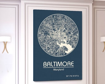 BALTIMORE CANVAS Map City Map Baltimore Maryland Art Print Baltimore Maryland poster Baltimore MD map art United States of America Poster