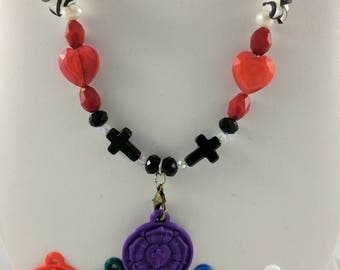Luther Rose Necklace set #1 with Purple Pendant