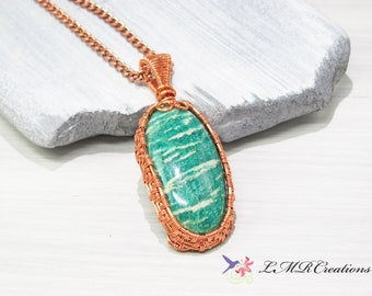 Copper Wire Wrapped Amazonite Necklace,  Wire Woven Gemstone Pendant, Green and White Natural Stone Necklace