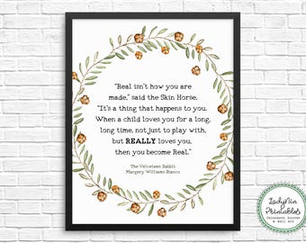 Velveteen Rabbit Wall Art, Nursery Printable, Literary Download, Skin Horse Quote, Instant Download, Gift for New Mother, Wall Art