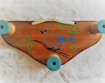 SALE!!  Vintage Folk Art Wall Rack, Hand painted Bluebird, Wood with Wood Burned Edges, Spools