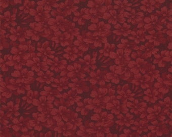 moda fabric by 1/2 yard 9419-16 Kansas Troubles Quilters Favorites II- dark red  floral tone on tone