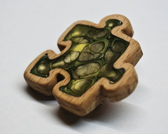 Handmade wooden puzzle pin, wooden brooch