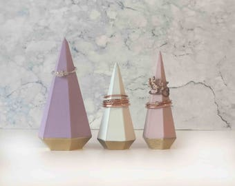 Set of 3 small, medium, large Ring Holder 3D printed geometric Cone