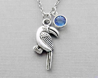 Toucan Necklace Animal Woodland BFF Friend Birthday Gift Friendship Bridesmaid Gift Silver Jewelry Swarovski Channel Crystal Birthstone
