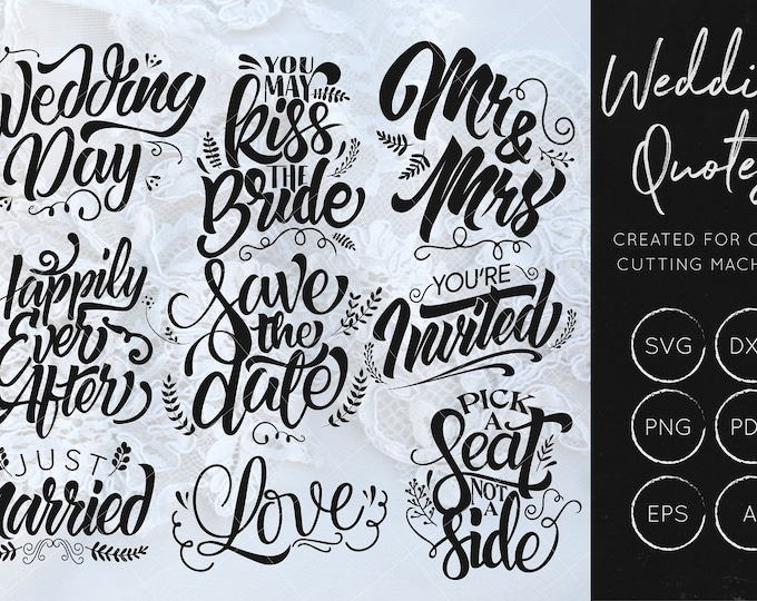 Hand Lettered Wedding Quotes Bundle
