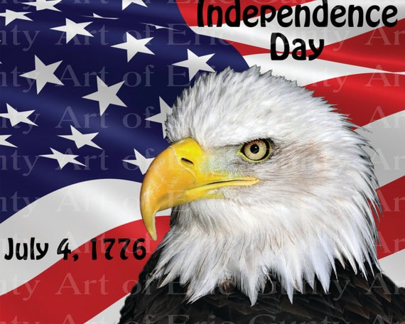 Patriotic Eagle 4th of July 1776 Birthday - Edible Cake and Cupcake Topper For Birthday's and Parties! - D22995