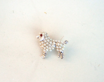 ON SALE: Darling Mid-Century Mini Faux-Pearl and Ruby Poodle Brooch