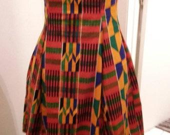 """African print knee length sleeveless dress, """"Kenyatta"""", sizes SM to Large"""