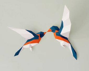Birds 3d Papercraft PDF, Paper sculpture, wall decor, faux taxidermy, papercut art, Boho decor, Printables, Boho chic, bird 3d origami