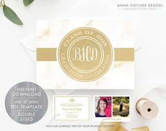 Gold Graduation Invitation, Monogram Graduation Announcement, 2018 Grad, Photo Invite, DIY Printable Editable PDF Template GRAD1