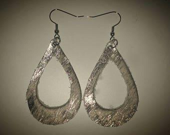 New!!  YOU PICK COLOR! Open Teardrop Hand Cut Leather Earrings. Leather Tear Drop Earrings.