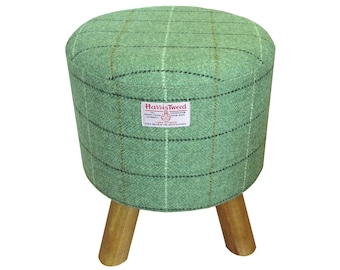 Harris Tweed Sage Green with Overcheck Hand Covered Footstool