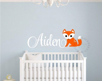 Nursery name wall decals Fox and name wall stencil Fox wall sticker Vinyl boy's name wall decals Custom name wall sticker Boy's name stencil