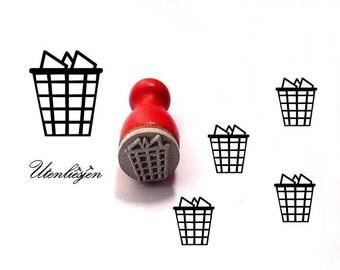 Stamp mini, waste basket, trash rubber stamp Ø 12 mm