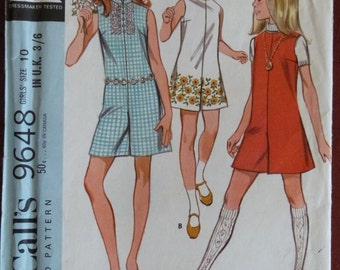 1960s McCall's 9648 Girls Pantdress Playsuit Sewing Pattern - Size 10
