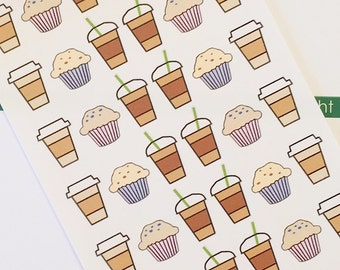 42 Coffee and Muffin Planner Stickers- Coffee Date Reminder Stickers- perfect in your Erin Condren planner, wall calendar or scrapbook