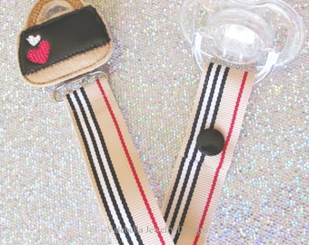 Pacifier Clip Purse Paci Soother Mam Nook Dummy stripe Binky Holder heart pocketbook trendy girl new baby girl shower gift LOOP OR SNAP