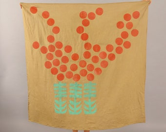 Organic Linen Block Print Tapestry, Tablecloth - Ochre with Red Flower Bouquet