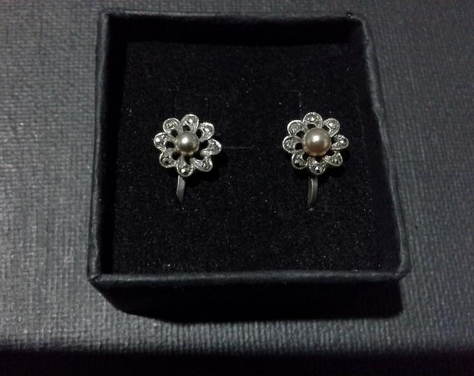 Art Deco Marcasite & Pearl Flower Screw Back Earrings Sterling Silver 925