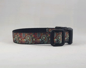 Red,Brown and Blue Paisley Dog Collar
