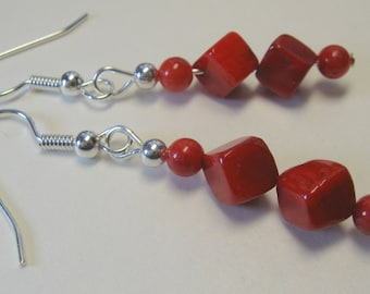 Red Coral Earrings  E1521
