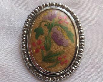vintage tapestry/embroidered flower brooch