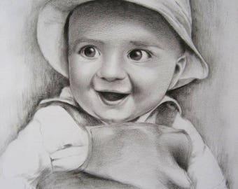 Christmas Custom portrait child portrait, kids portrait, child portrait, custom drawing handmade pencil on paper