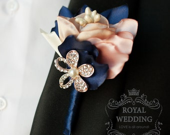 Wedding Boutonniere Buttonhole Grooms Boutonniere Jewelry Boutonniere Rose Boutonniere Gold Boutonniere Ivory Boutonniere Fabric Boutonniere