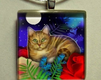 ORANGE TABBY CAT moon garden 1 inch glass tile pendant with chain