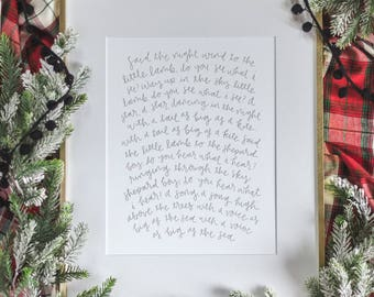 CHRISTMAS Do You Hear What I Hear? print //Christmas Carol hand lettered -- holiday print 11x14