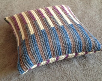 Hand Knit Decorative Cushion / Pillow Cover for Sofa / Couch or Bed (multi-colour stripes: white, grey, lilac, blue and light brown)