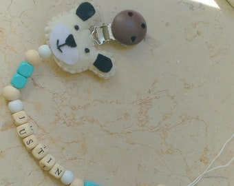 Chain Pacifier/gift for Mum/Pacifier Custom/pacifier Wood/gift for mother/baby shower/pacifist clip