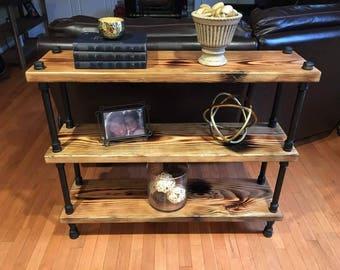 industrial pipe furniture. Industrial Pipe Distressed Wood Bookshelf Furniture