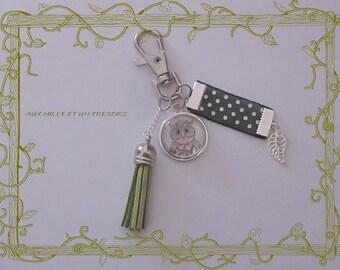 Jewelry bag Keychain owls and green tassel